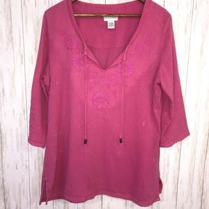 Soft Surroundings embroidered cotton tunic Large